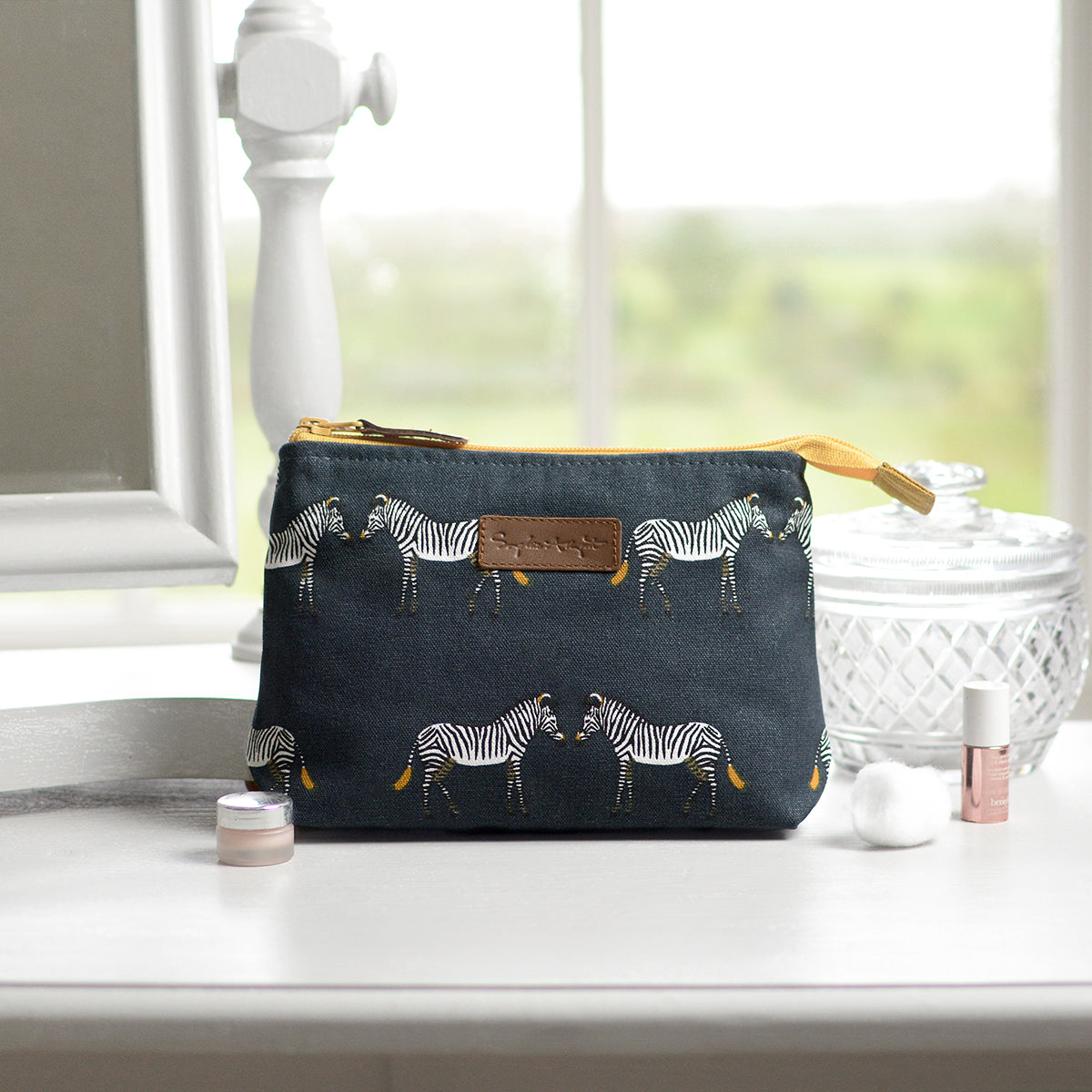 Zebra Canvas Makeup Bag