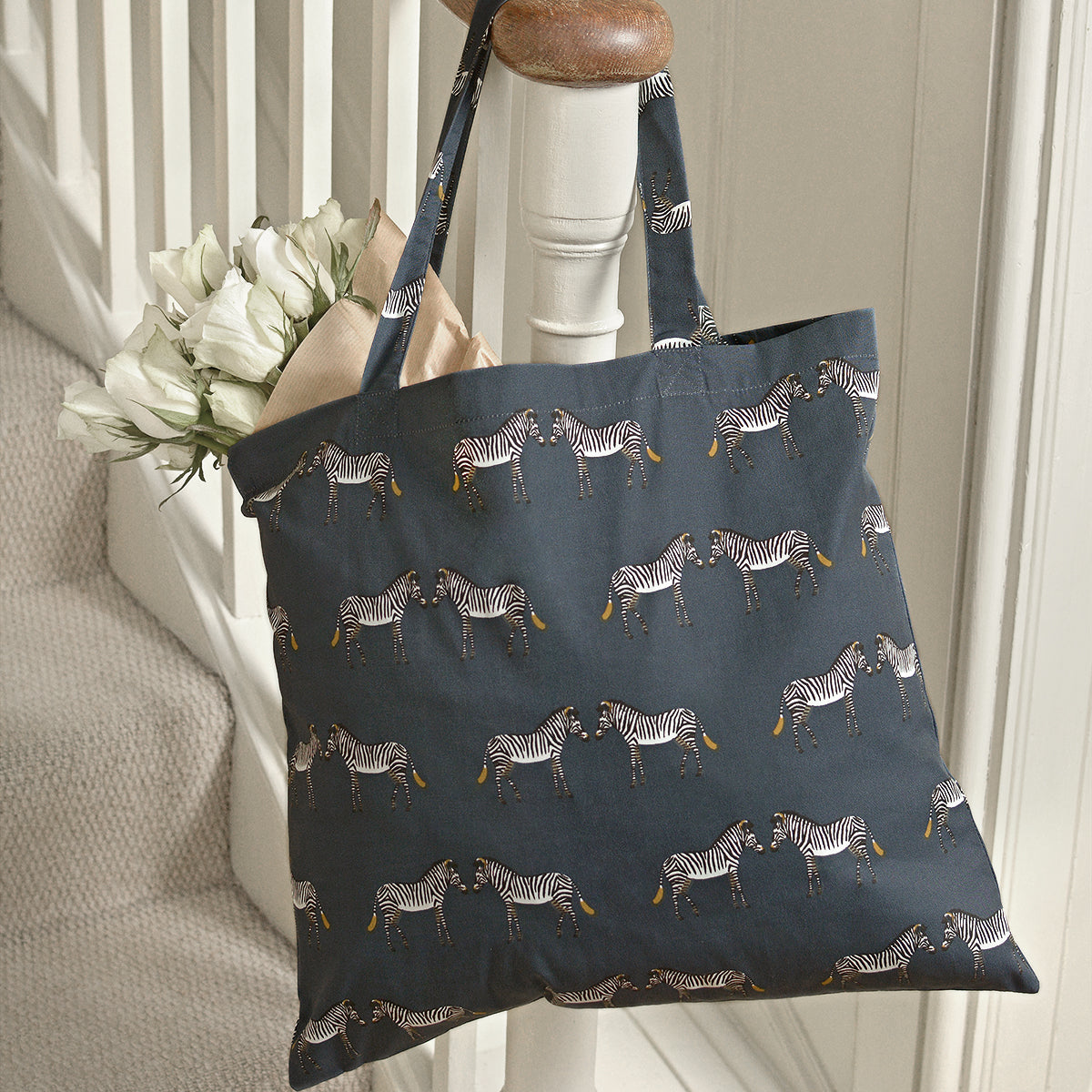 Zebra Folding Shopping Bag