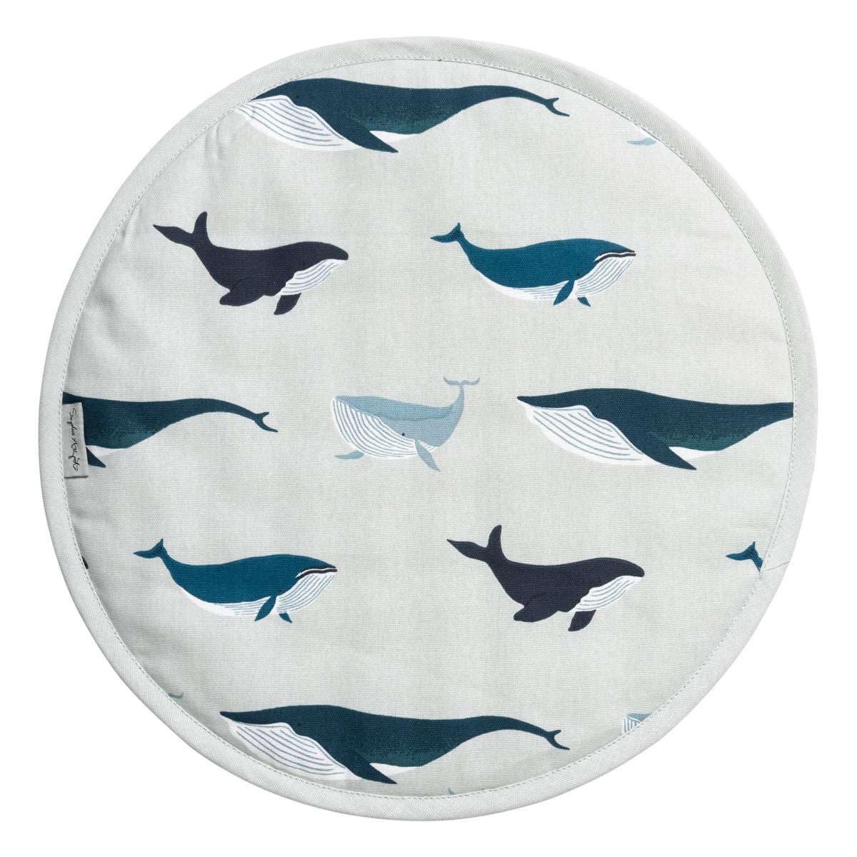 Whales Circular Hob Cover for AGA by Sophie Allport