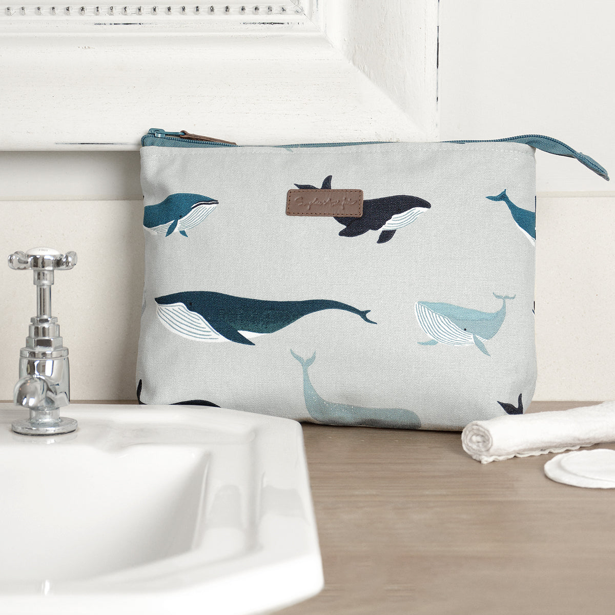 Whales Canvas Wash Bag For Toiletries by Sophie Allport