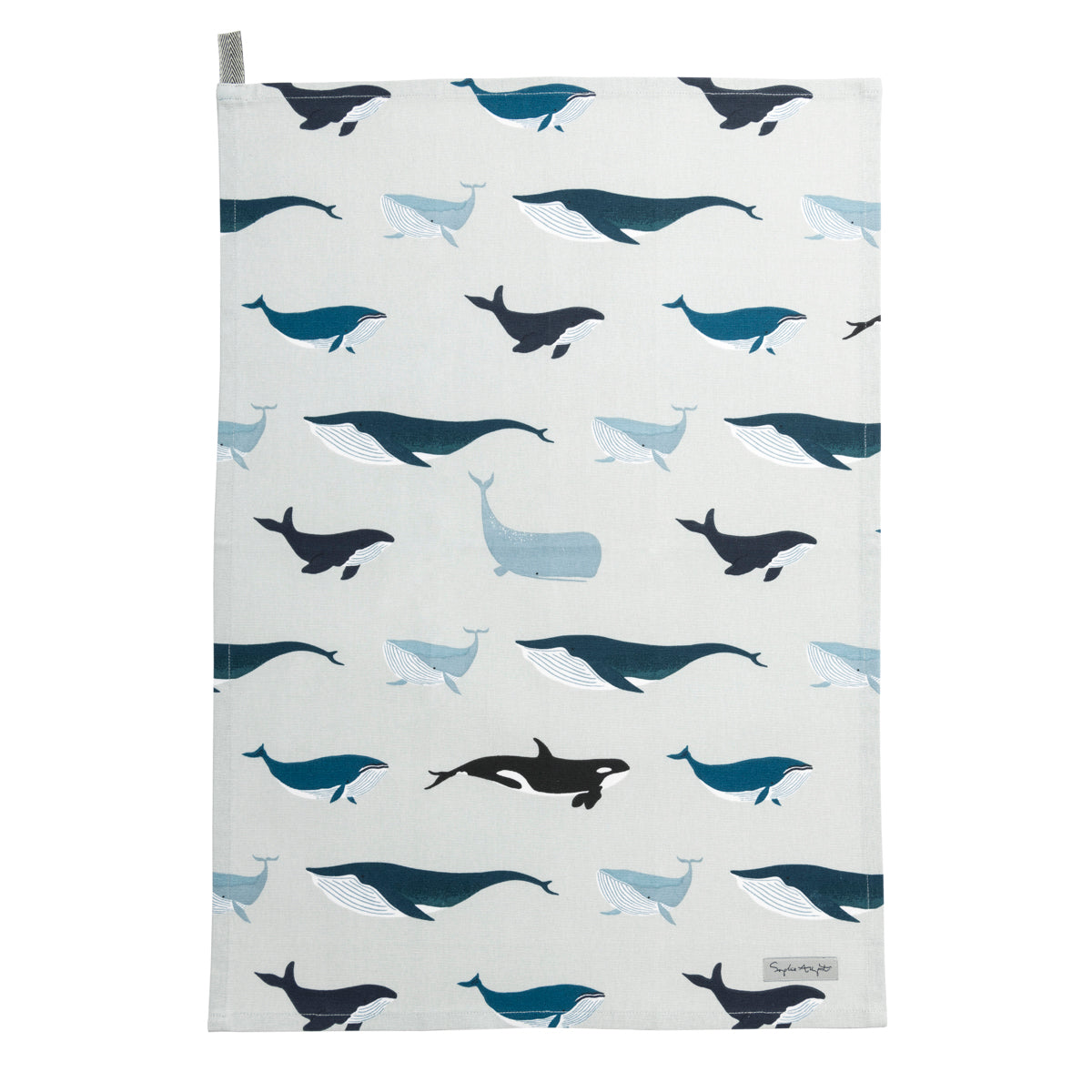 Whales Cotton Tea Towel by Sophie Allport