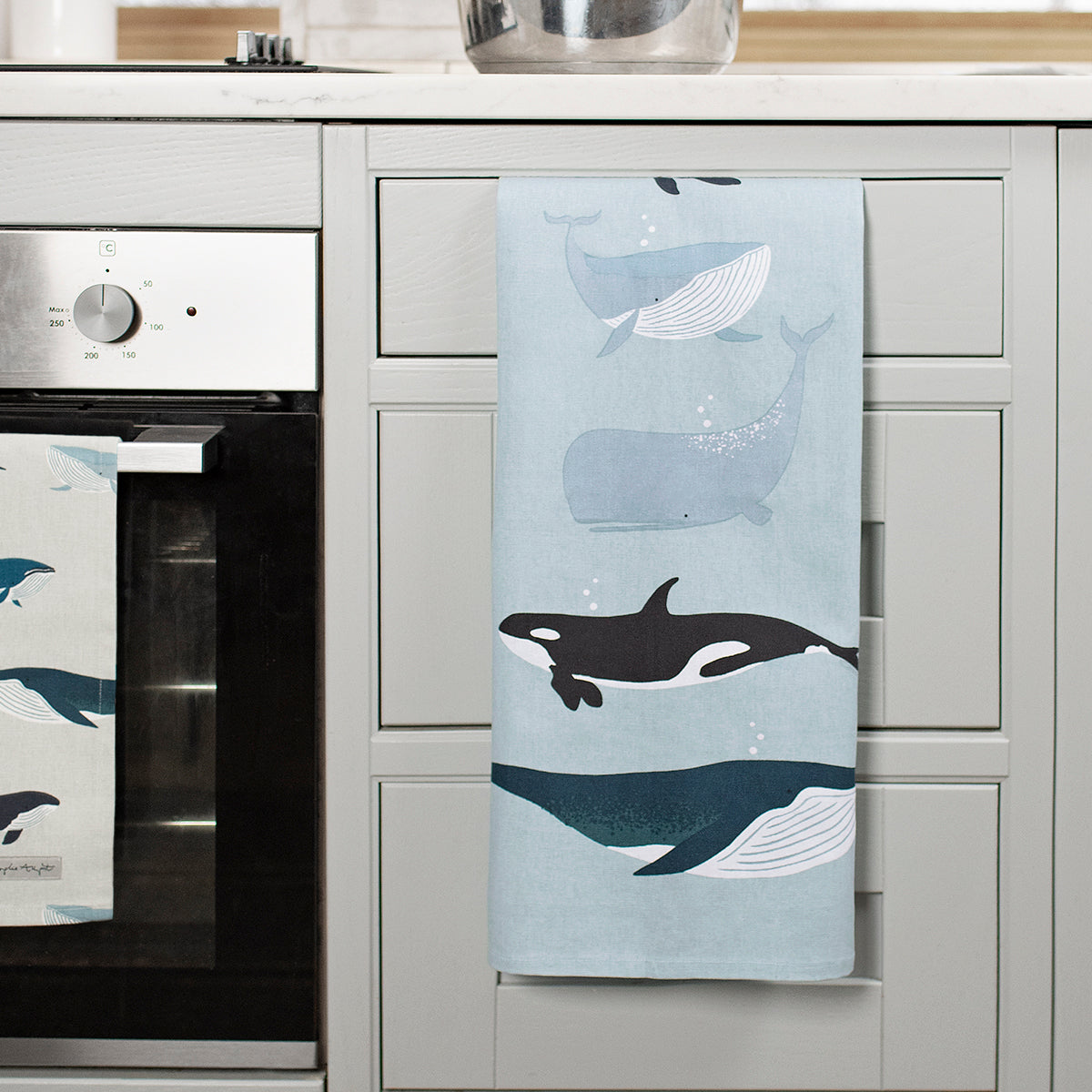 Whales Statement Cotton Tea Towel by Sophie Allport