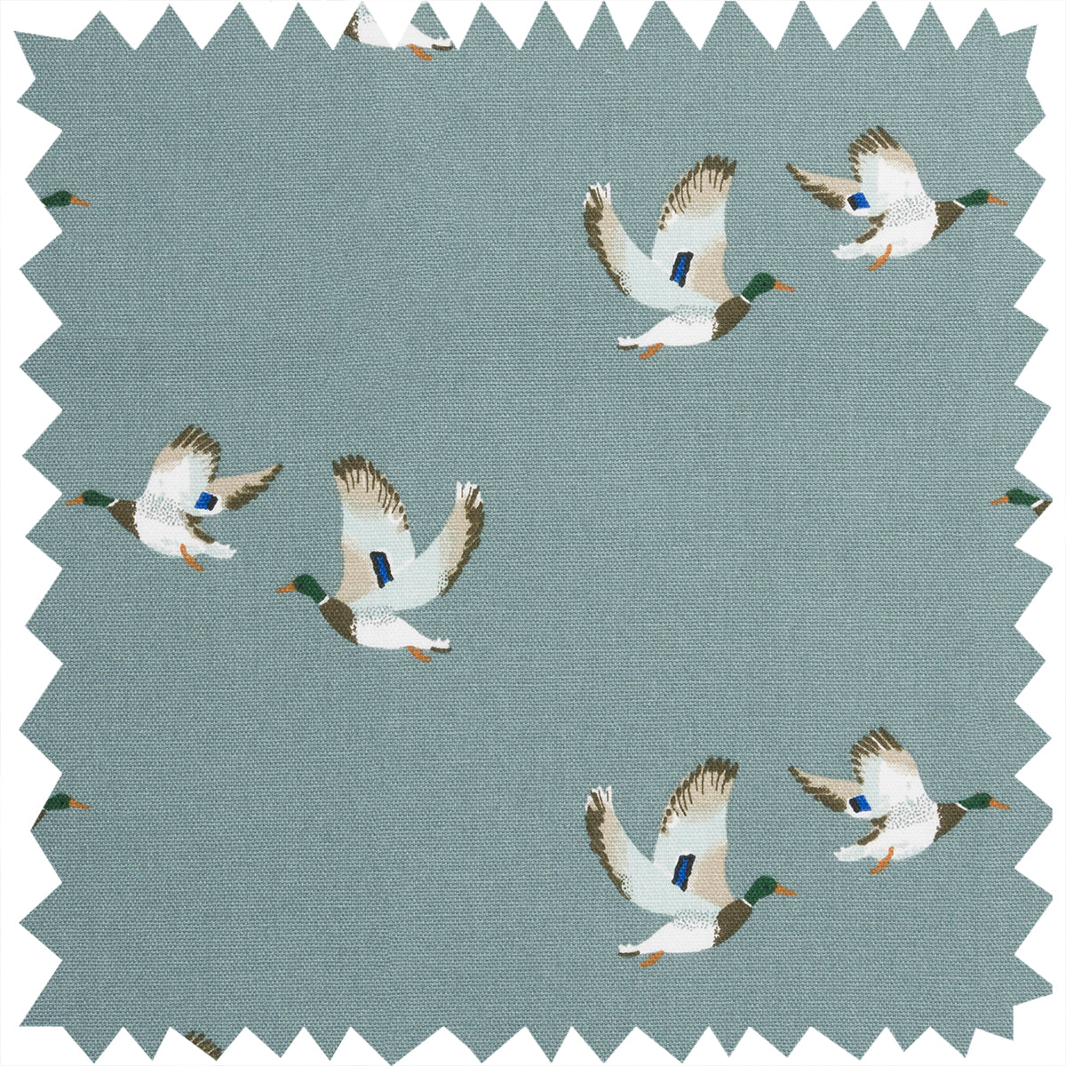 Ducks on a stoenwashed blue background fabric
