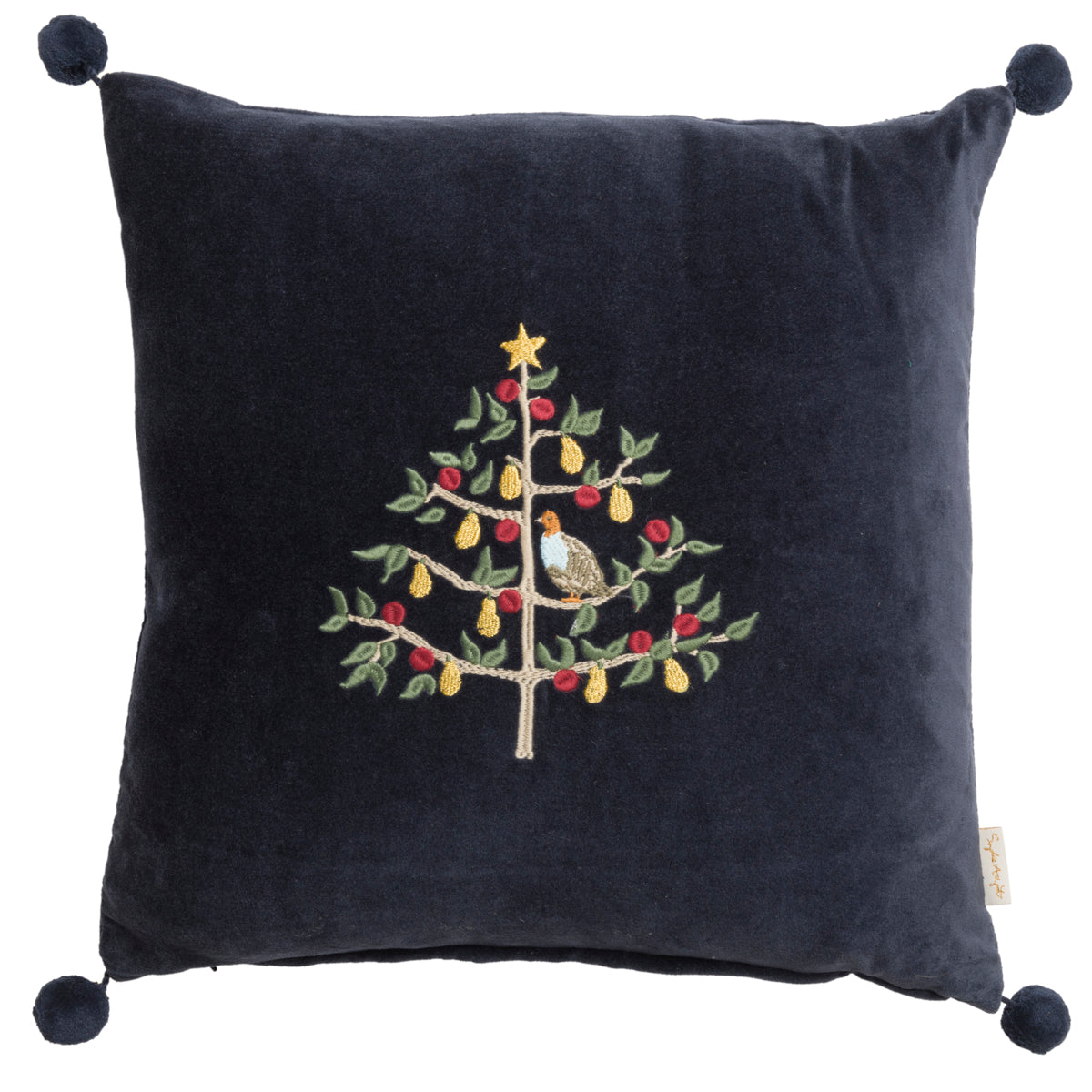 Partridge Embroidered Cushion