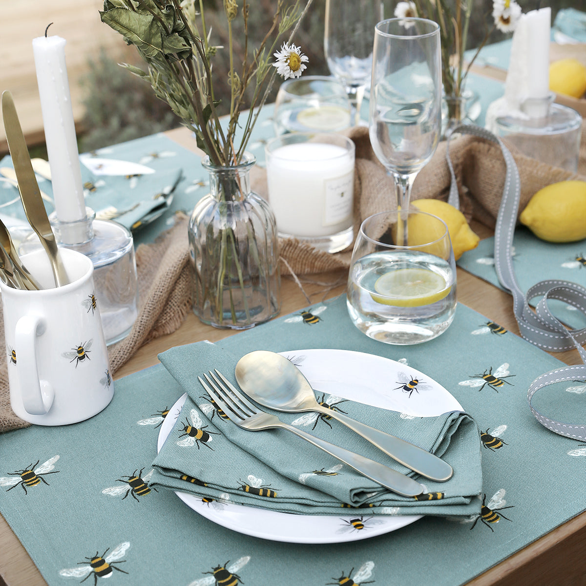 Bees Teal Fabric Placemat