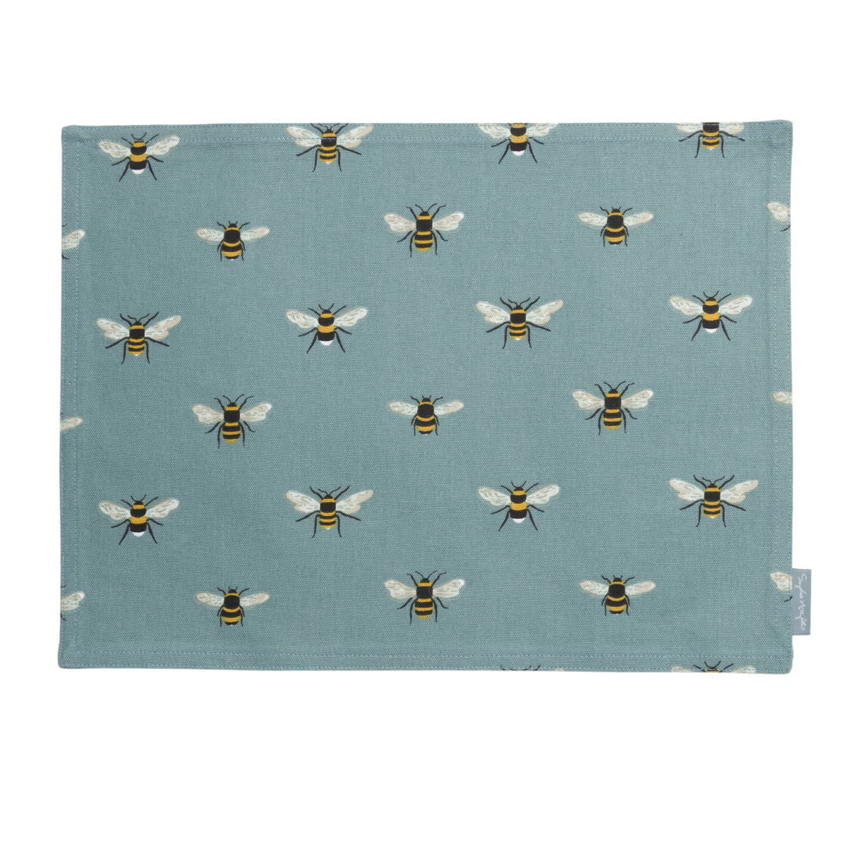 Bees Teal Fabric Placemat by Sophie Allport