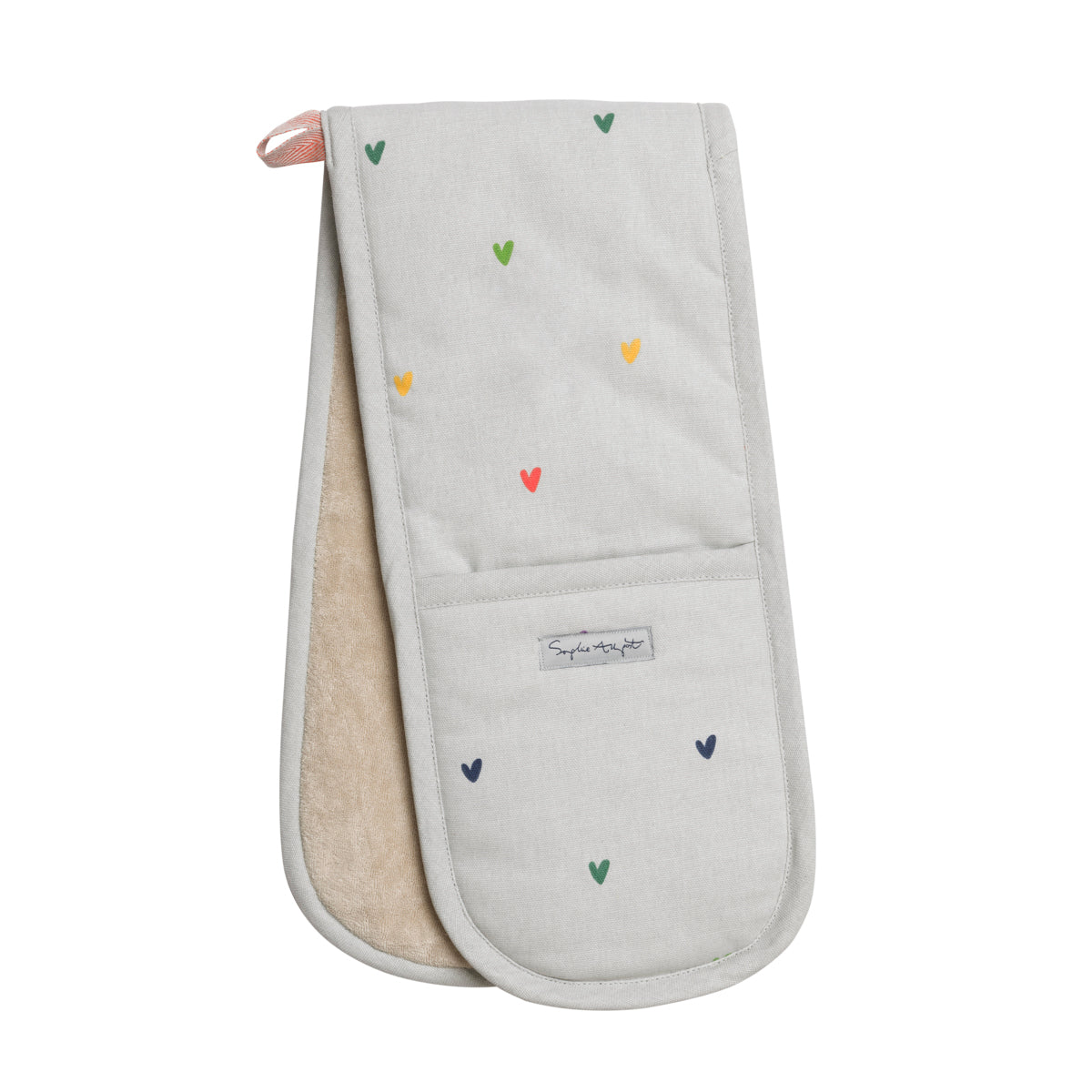 Multicoloured Hearts Double Oven Glove by Sophie Allport