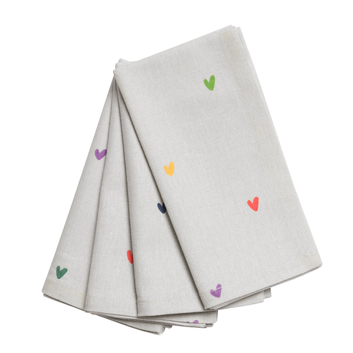 Multicoloured Hearts Napkins (Set of 4) by Sophie Allport