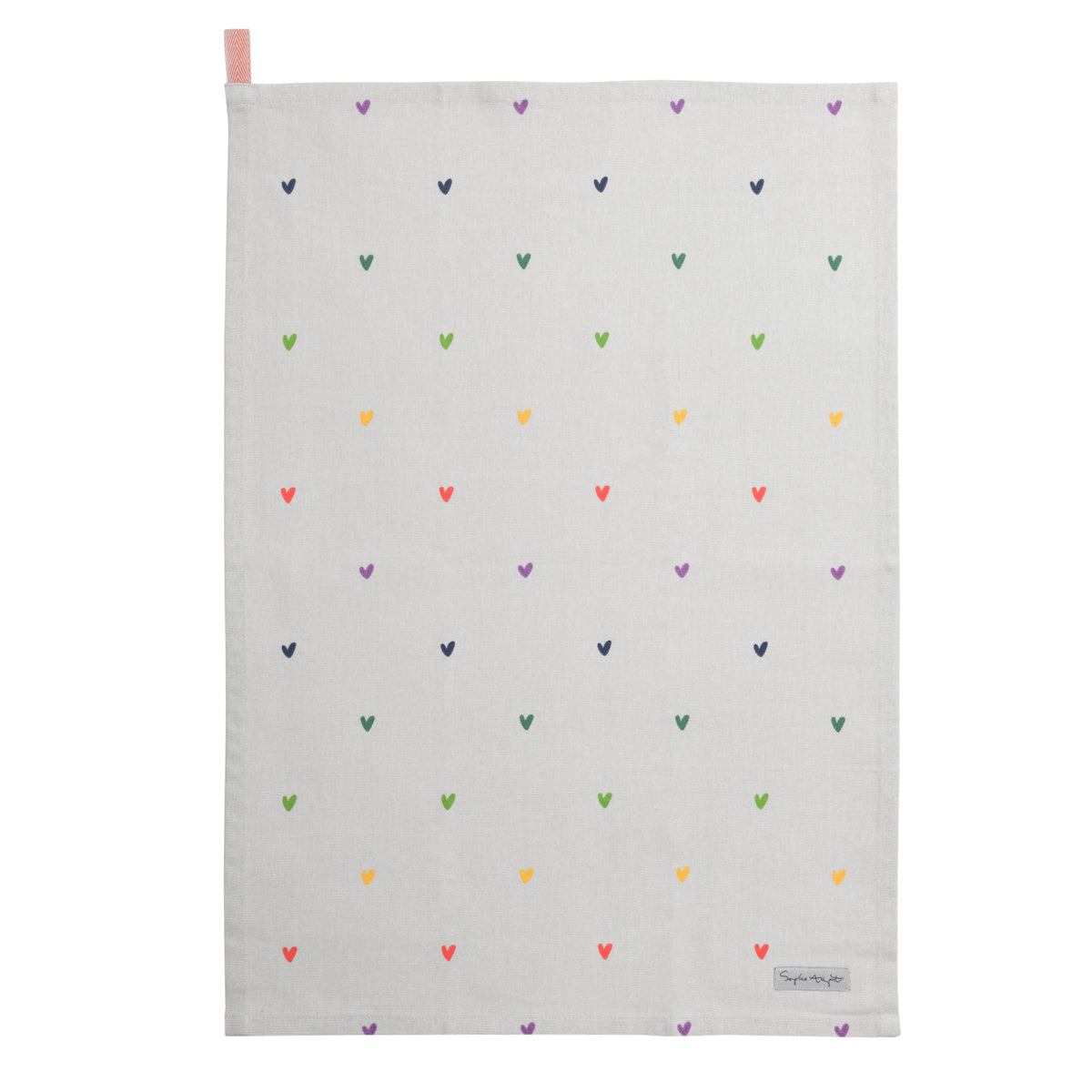 Multicoloured Hearts Tea Towel by Sophie Allport