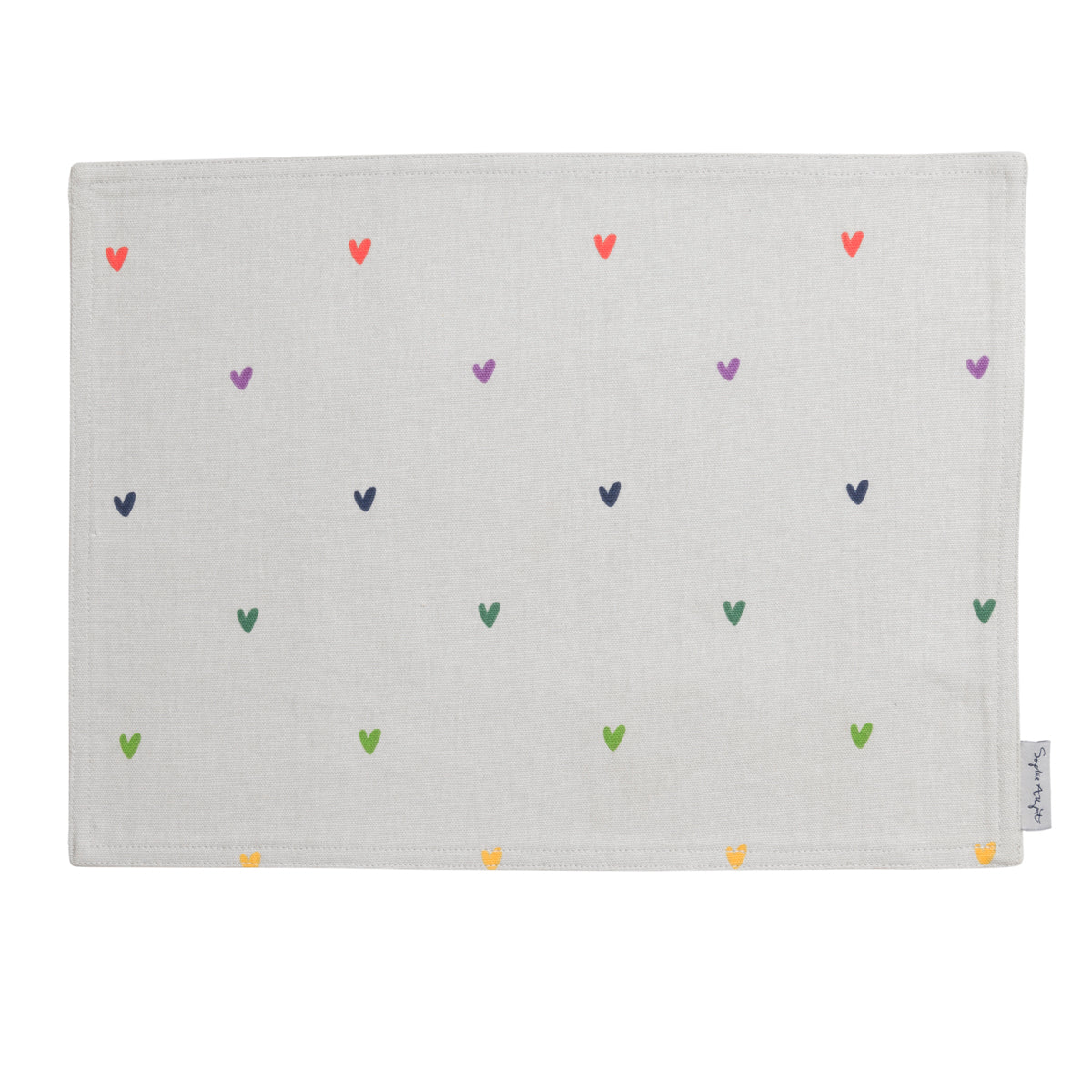 Multicoloured Hearts Fabric Placemat by Sophie Allport