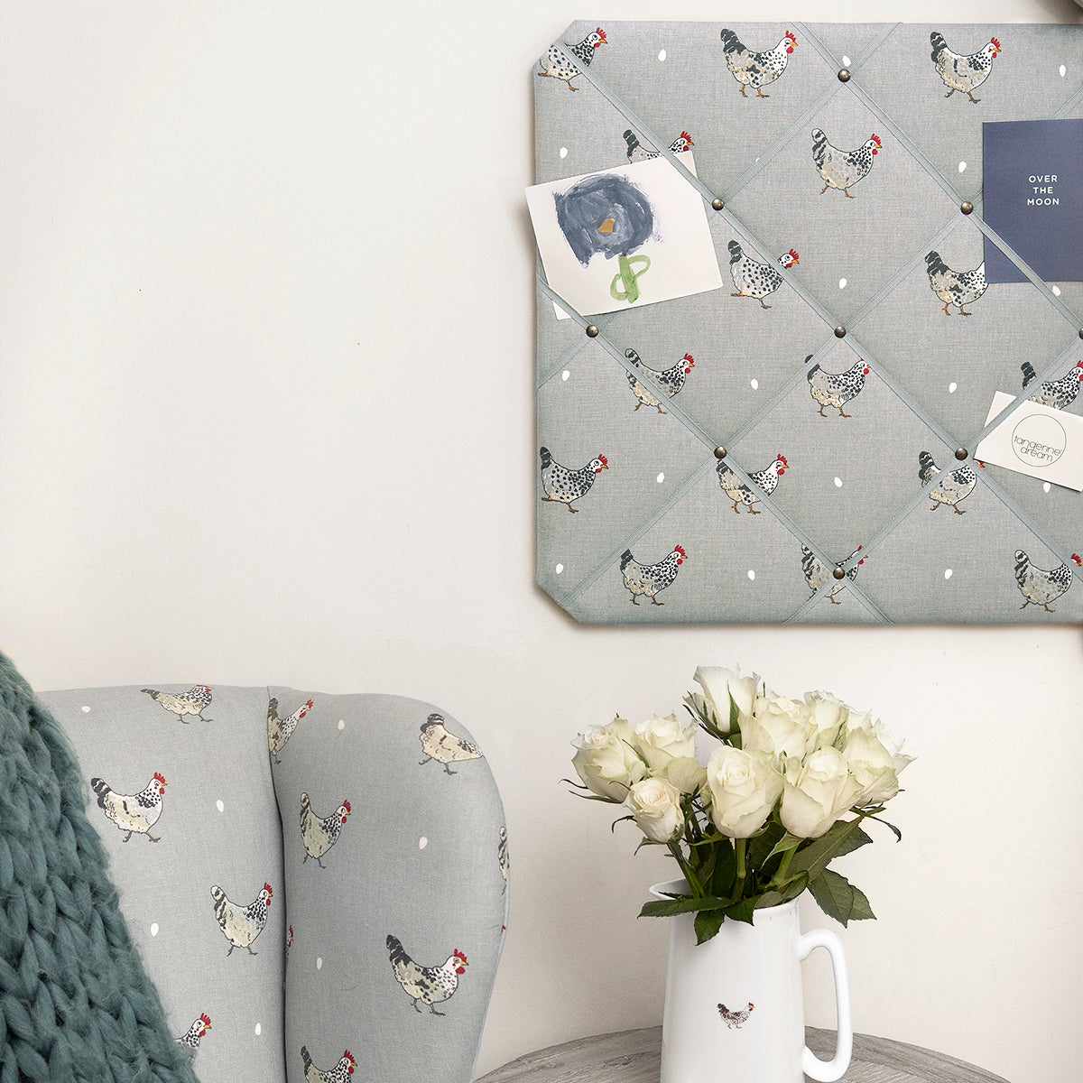 Chicken fabric by the metre, perfect for upholstery, by Sophie Allport