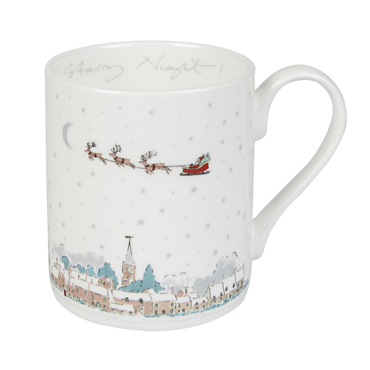 Starry Night Village Scene Mug