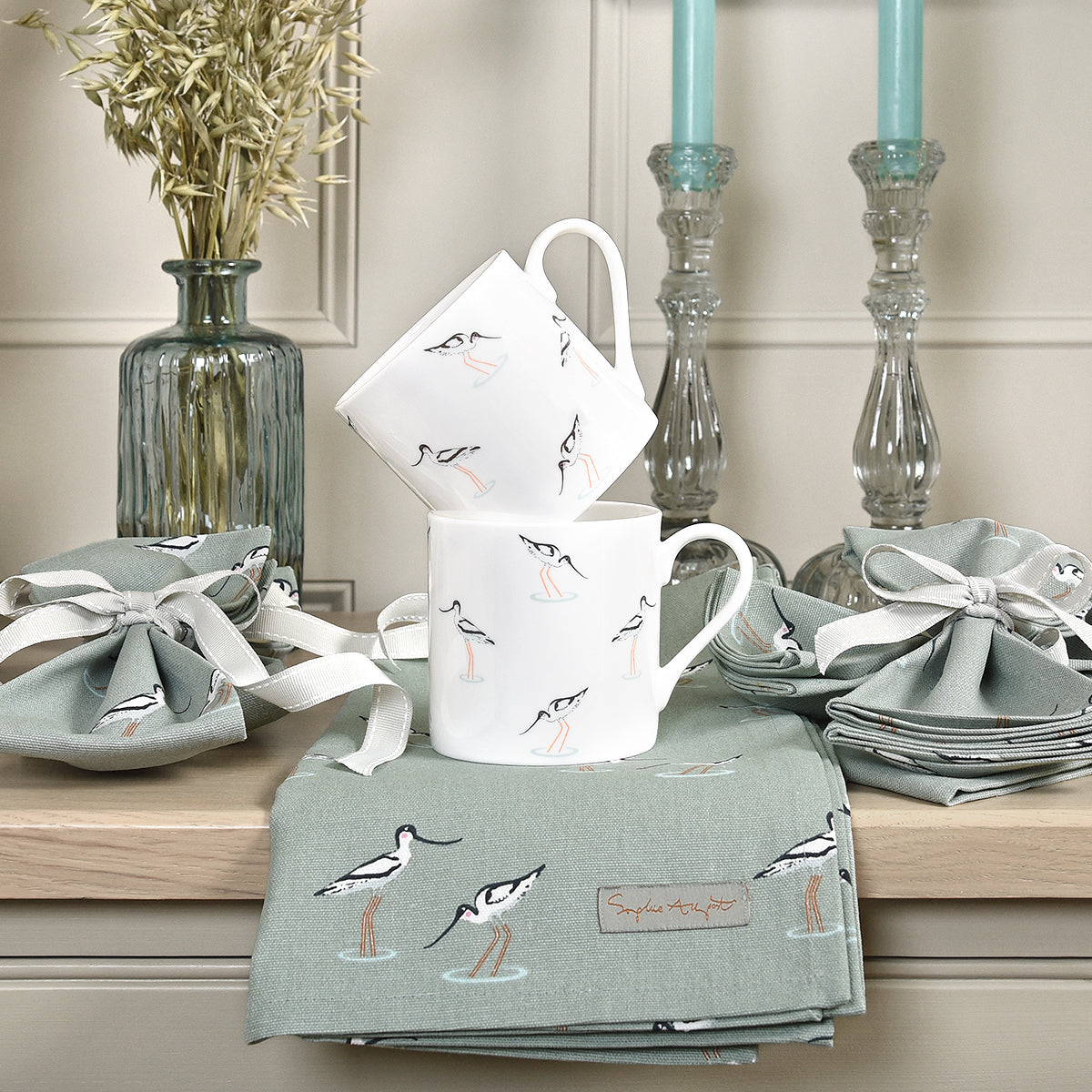 Sea blue green tea towel in Sophie Allport's Coastal Birds design