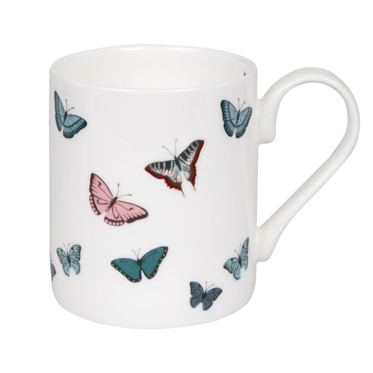 Sophie Allport fine bone china mug covered in colourful butterflies.