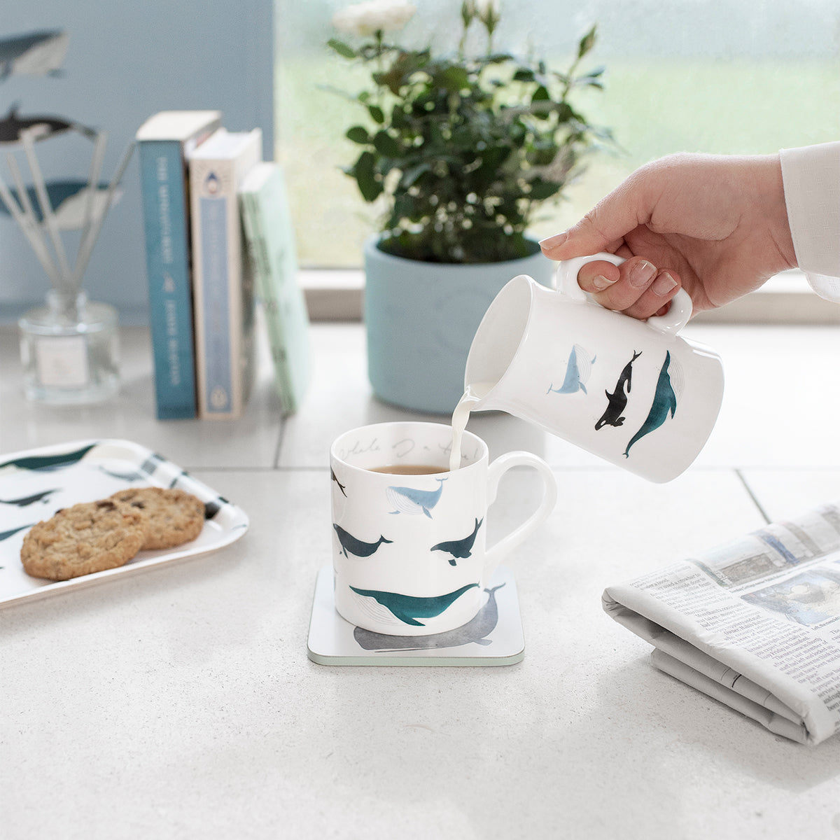 Whales Fine Bone China Jug Small by Sophie Allport