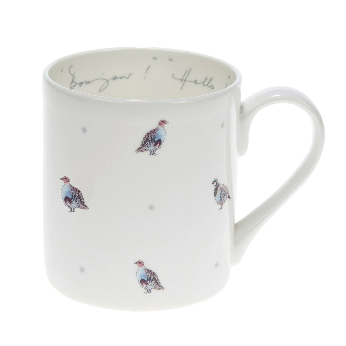 Bonjour! Hello! Partridge & Dot Mug