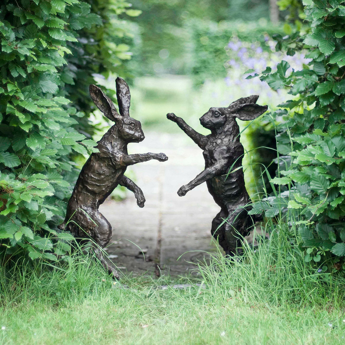 Pair Of Boxing Hares Bronze Sculpture
