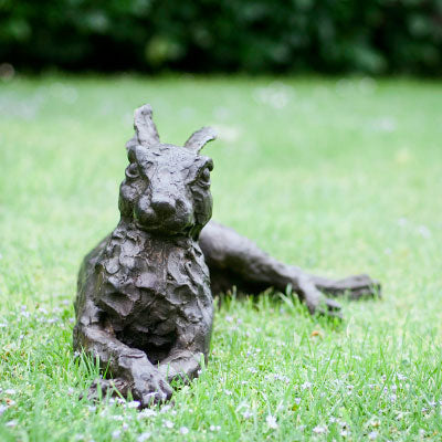 Lying Down Hare Bronze Sculpture