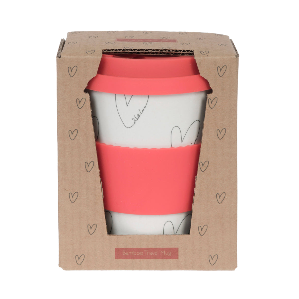 Multicoloured Hearts Bamboo Travel Mug by Sophie Allport