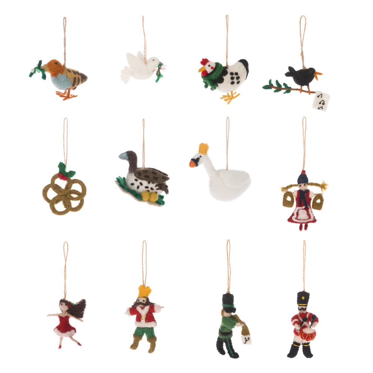 12 Days Of Christmas Felt Decorations (Set of 12)