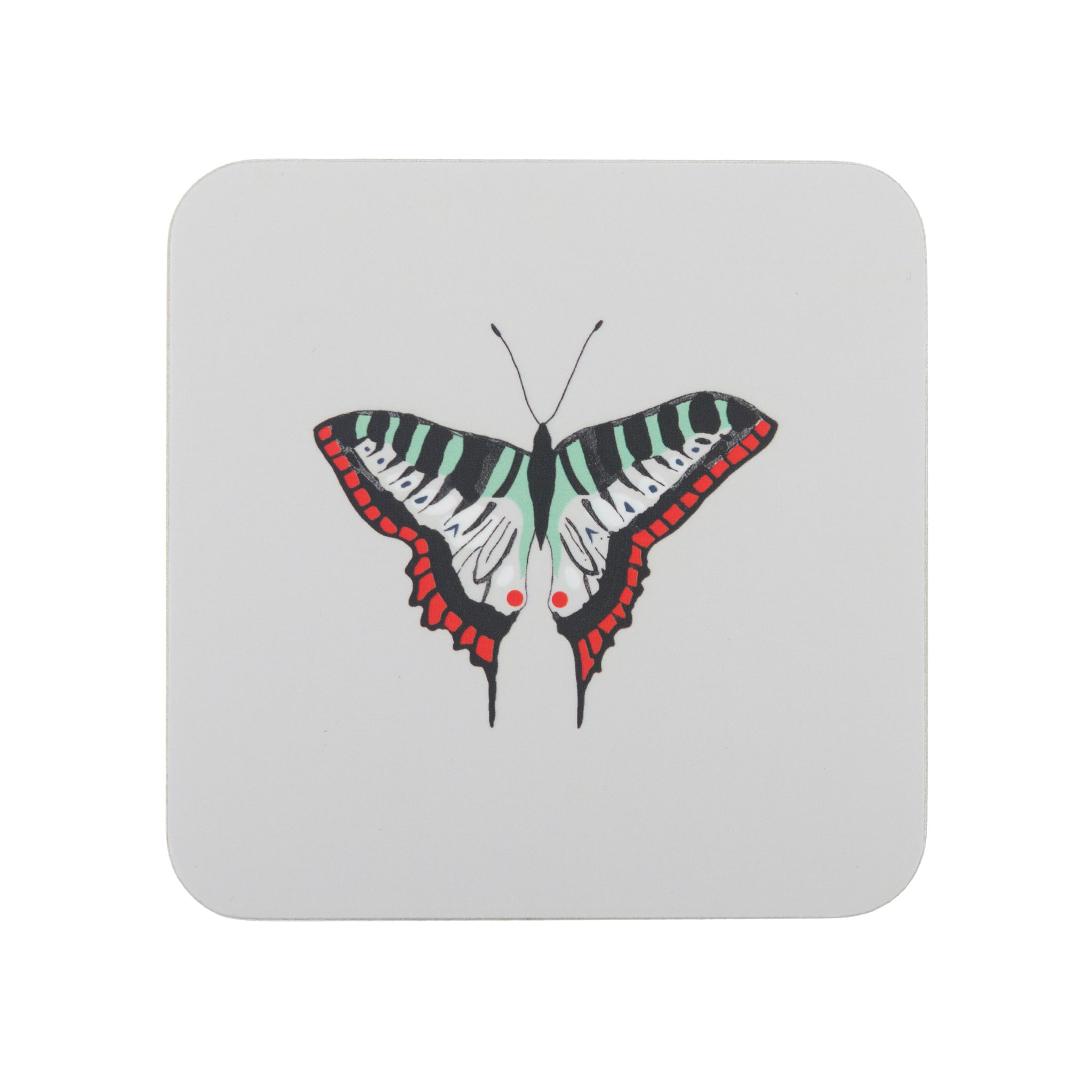 Sophie Allport Butterflies Coasters which come as a set of four featuring a butterfly on  light grey background.