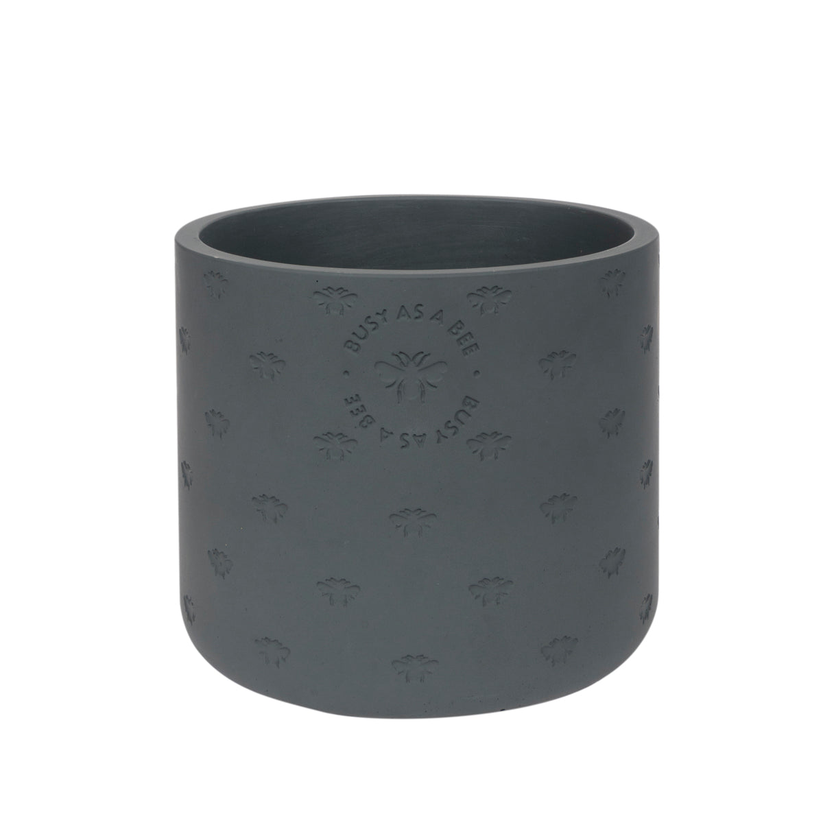 Medium grey cement plant pot by Sophie Allport in her bee design.