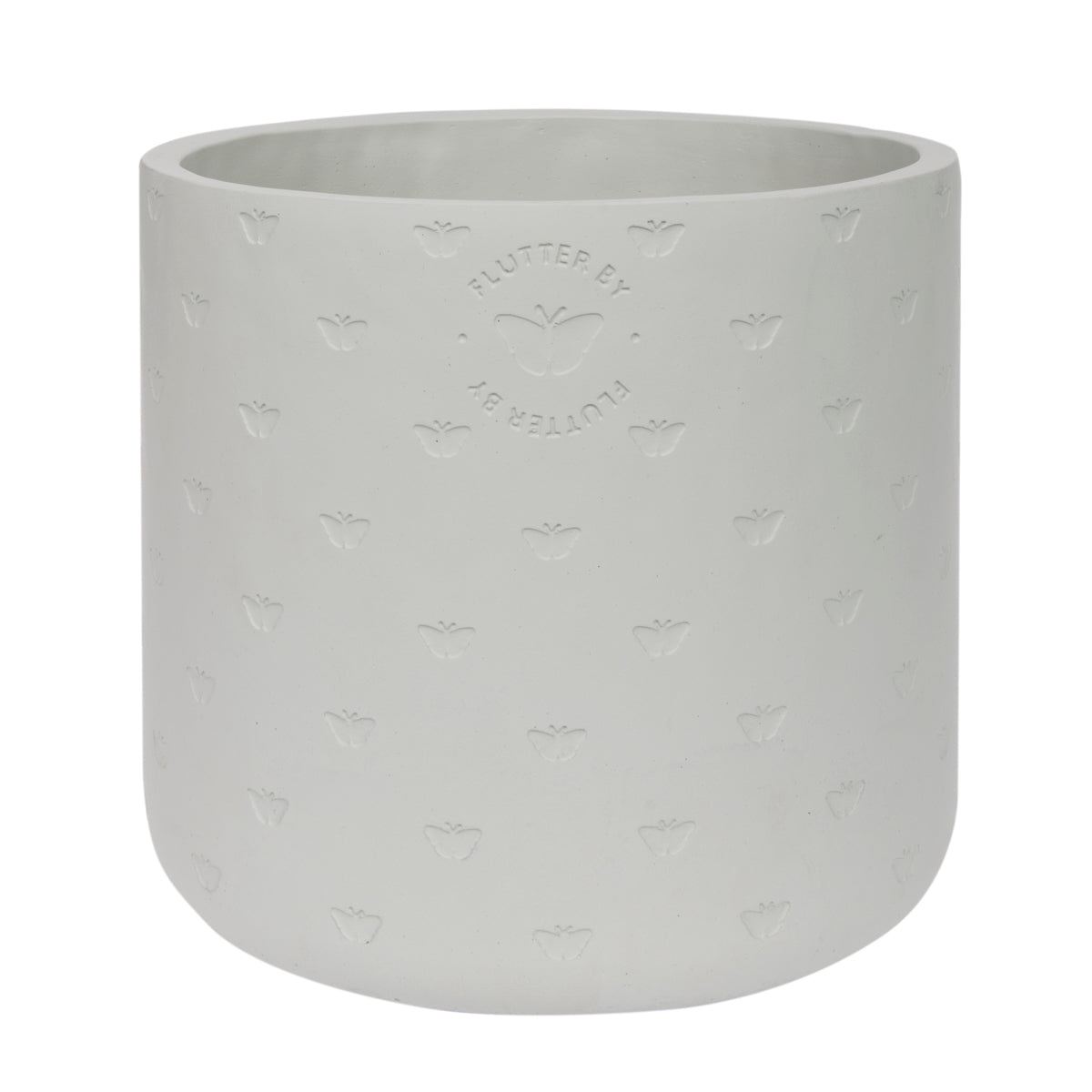A light grey plant pot made from cement part of Sophie Allport's Butterflies collection