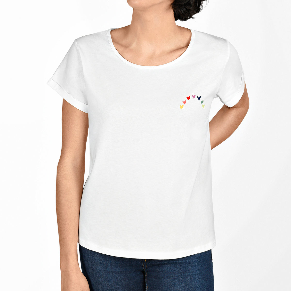 Model wearing Sophie Allport's Multicoloured Hearts Ladies T-Shirt