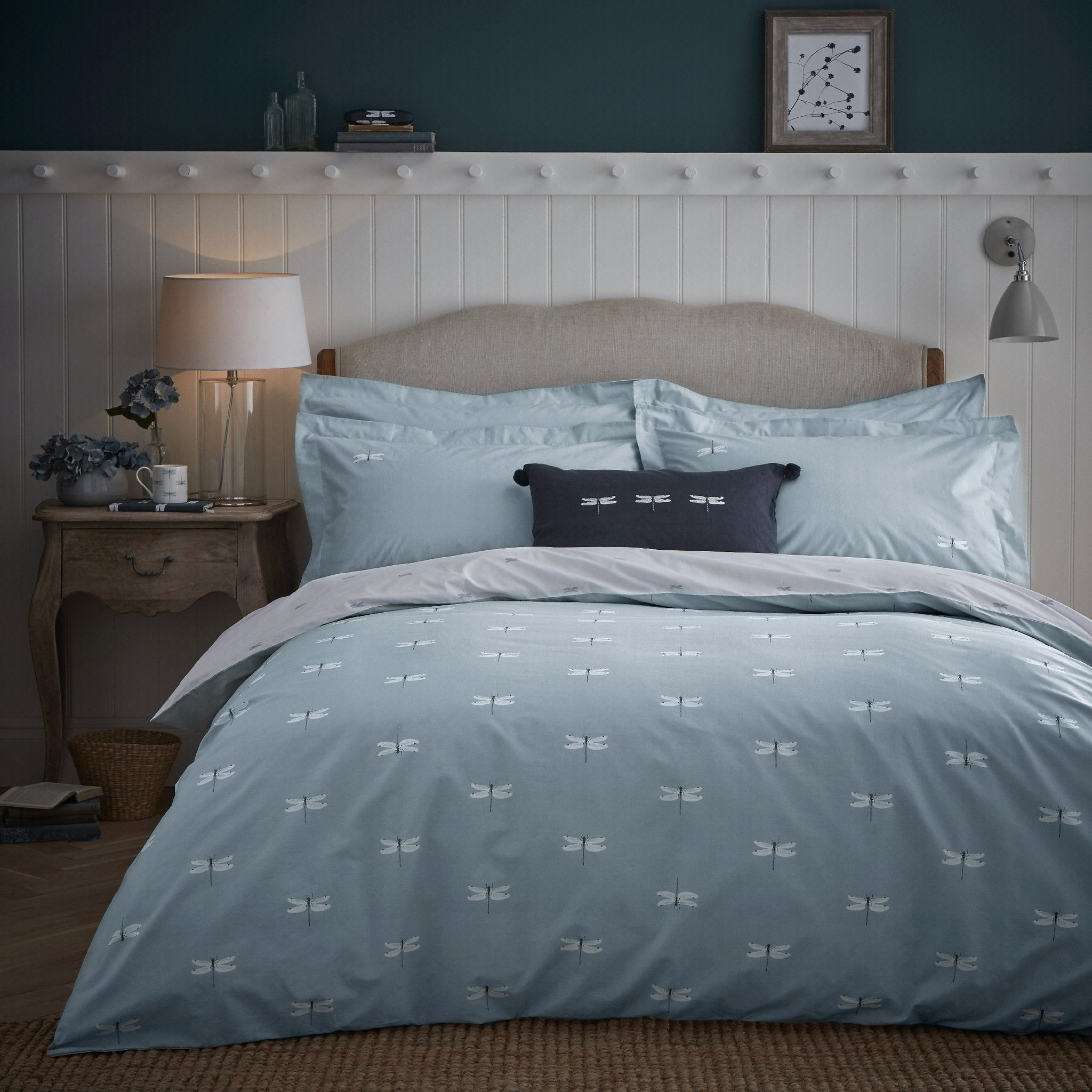 Dragonfly Pair of Oxford Pillowcases by Sophie Allport