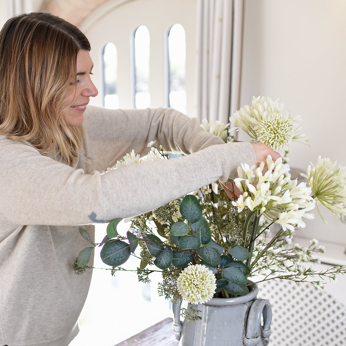 White Agapanthus faux flower by Sophie Allport