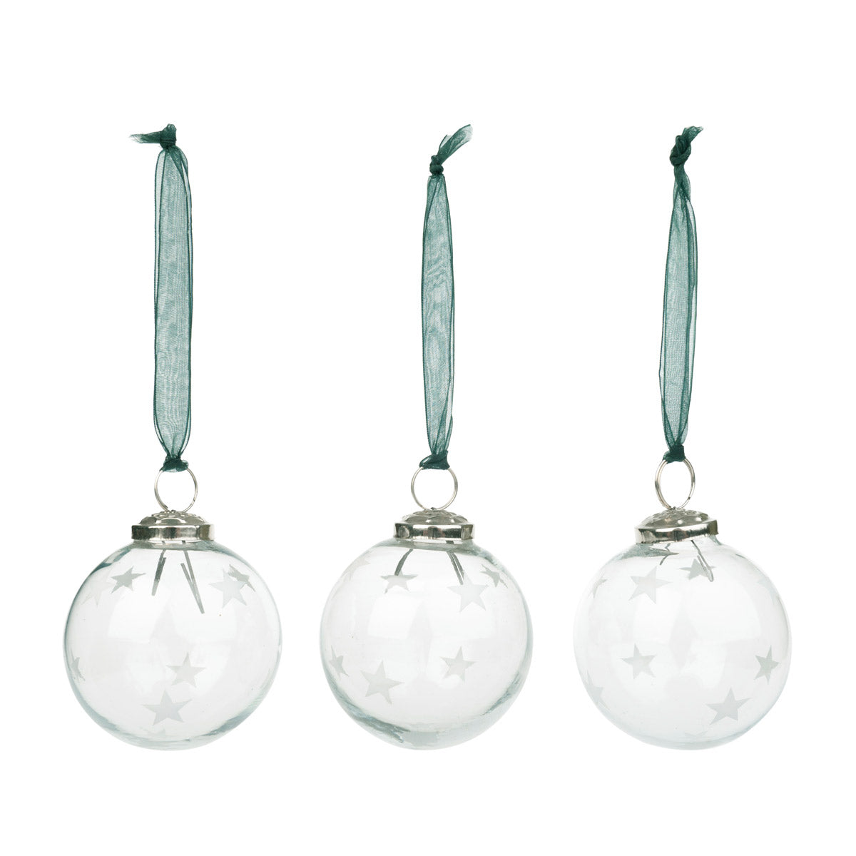 Frosted Star Bauble Decoration - Set of 3