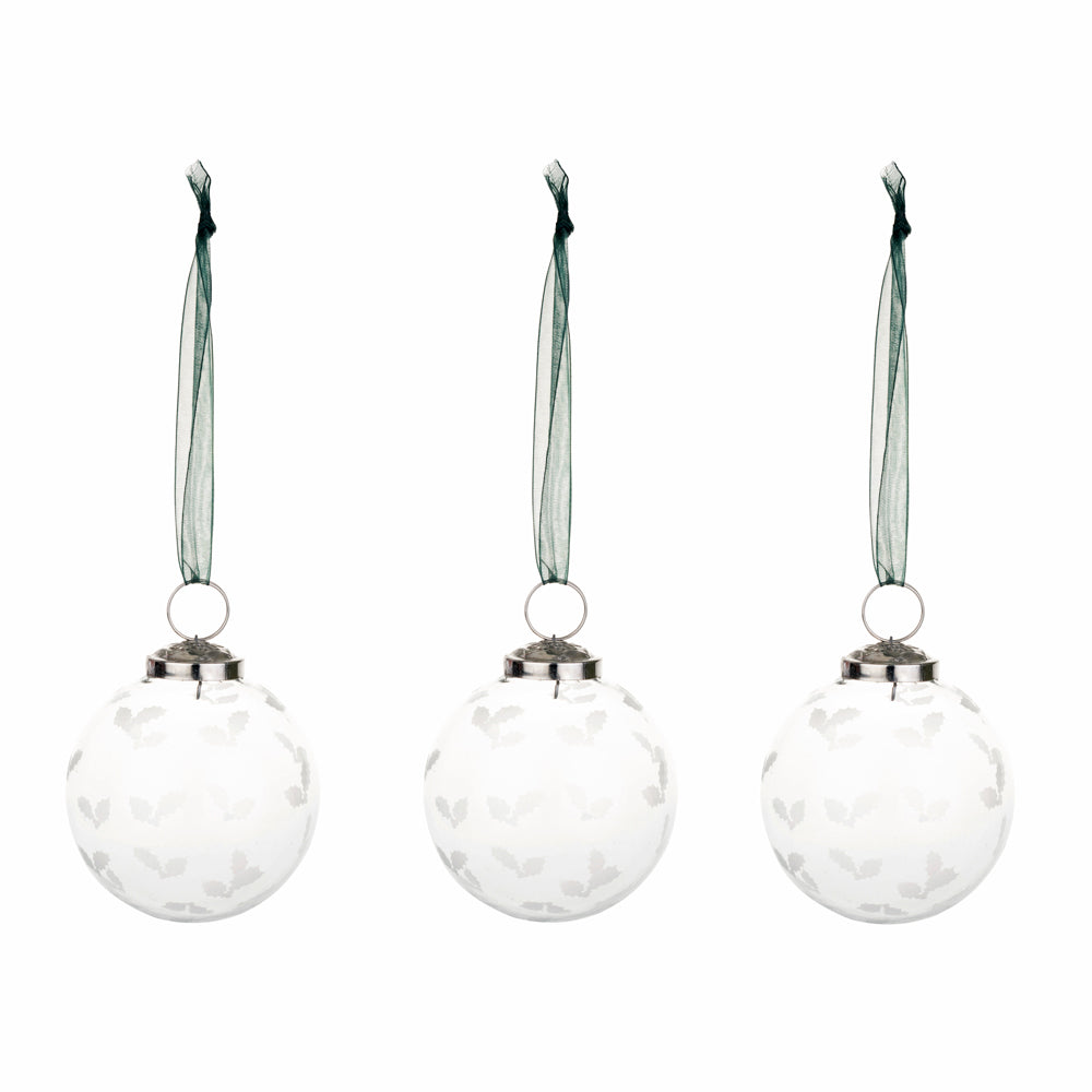 Frosted Holly Baubles - Set of 3