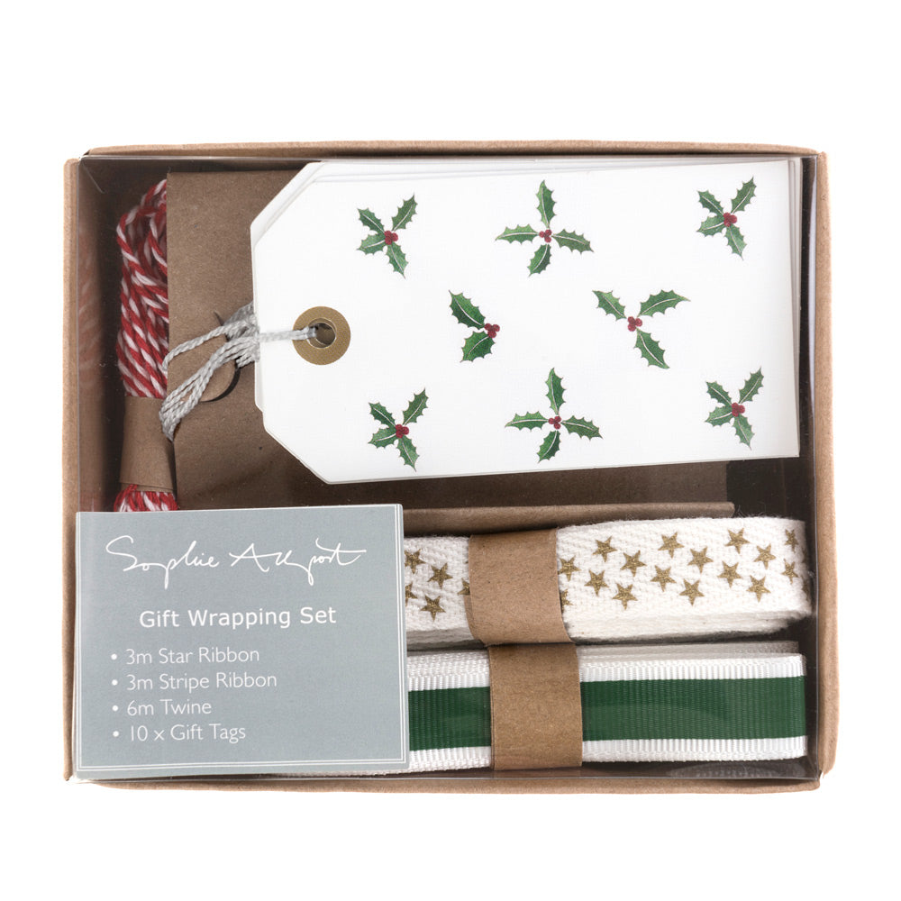 Holly & Berry Ribbon and Tag Gift Wrapping Set
