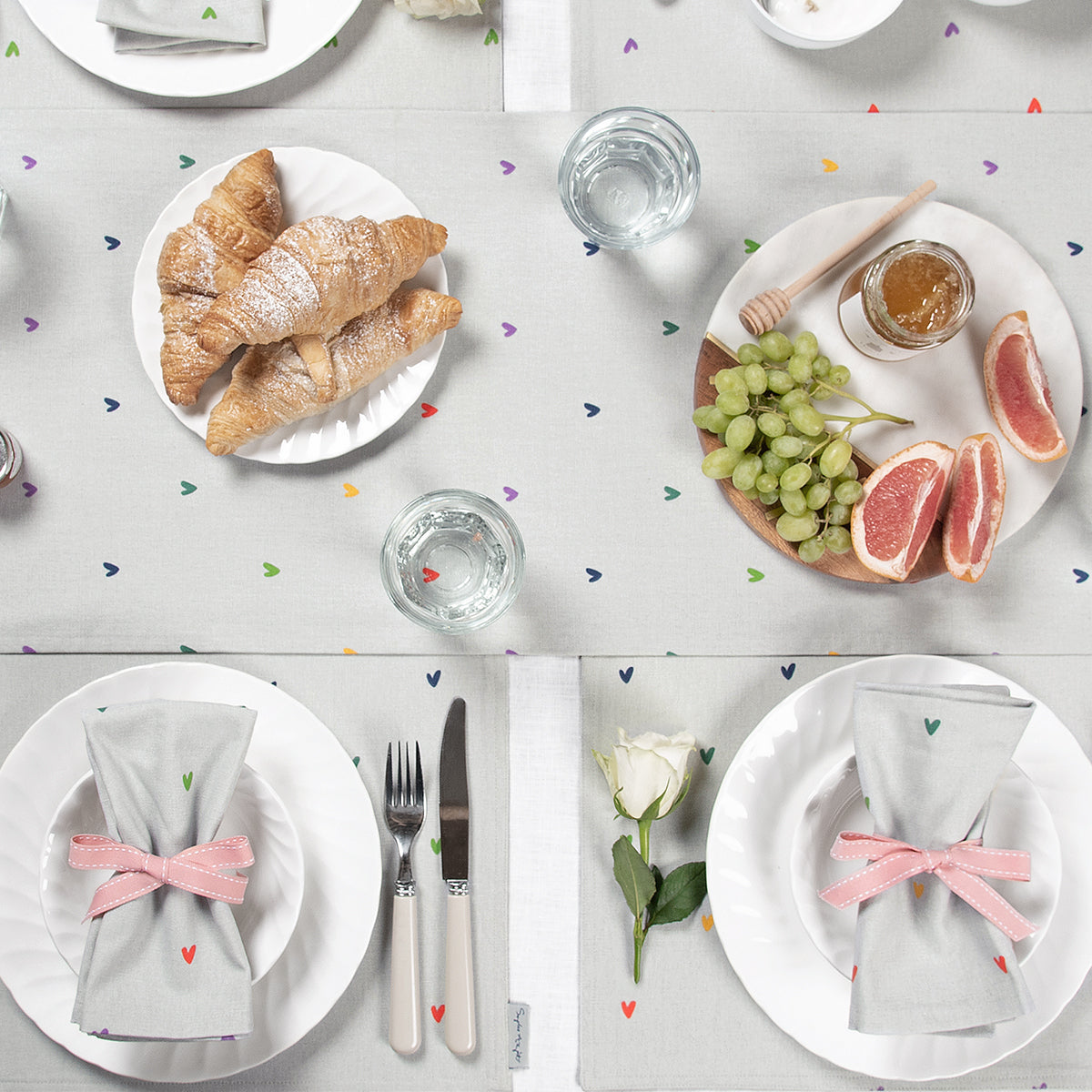 Multicoloured Hearts Table Setting by Sophie Allport