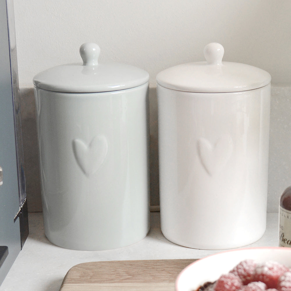 Hearts Grey Storage Jar