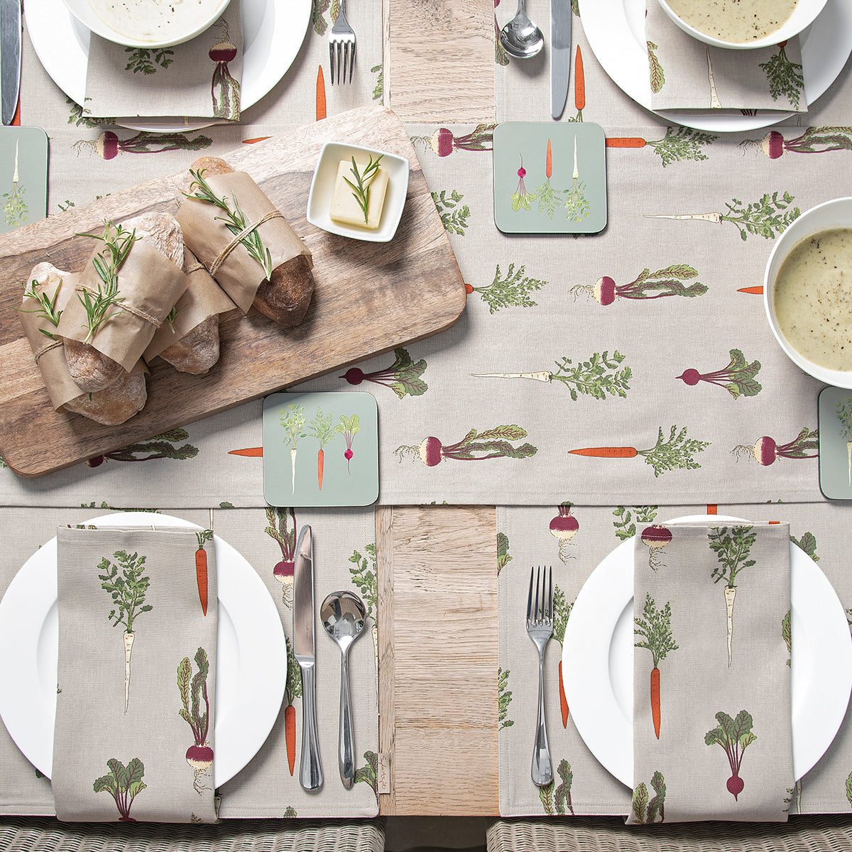 Home Grown Fabric Placemats Table Setting by Sophie Allport