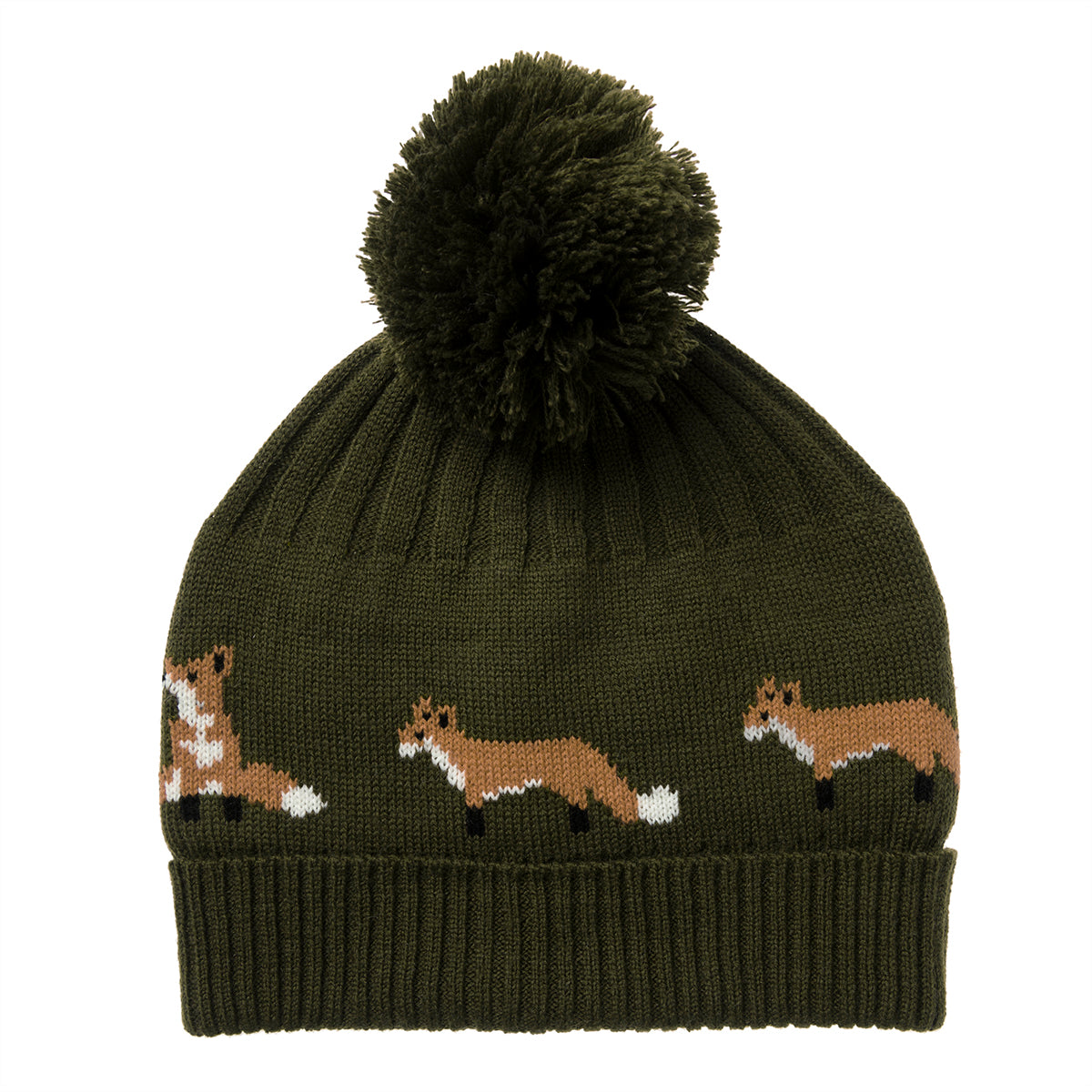 Knitted Hat - Foxes (Midnight Green)