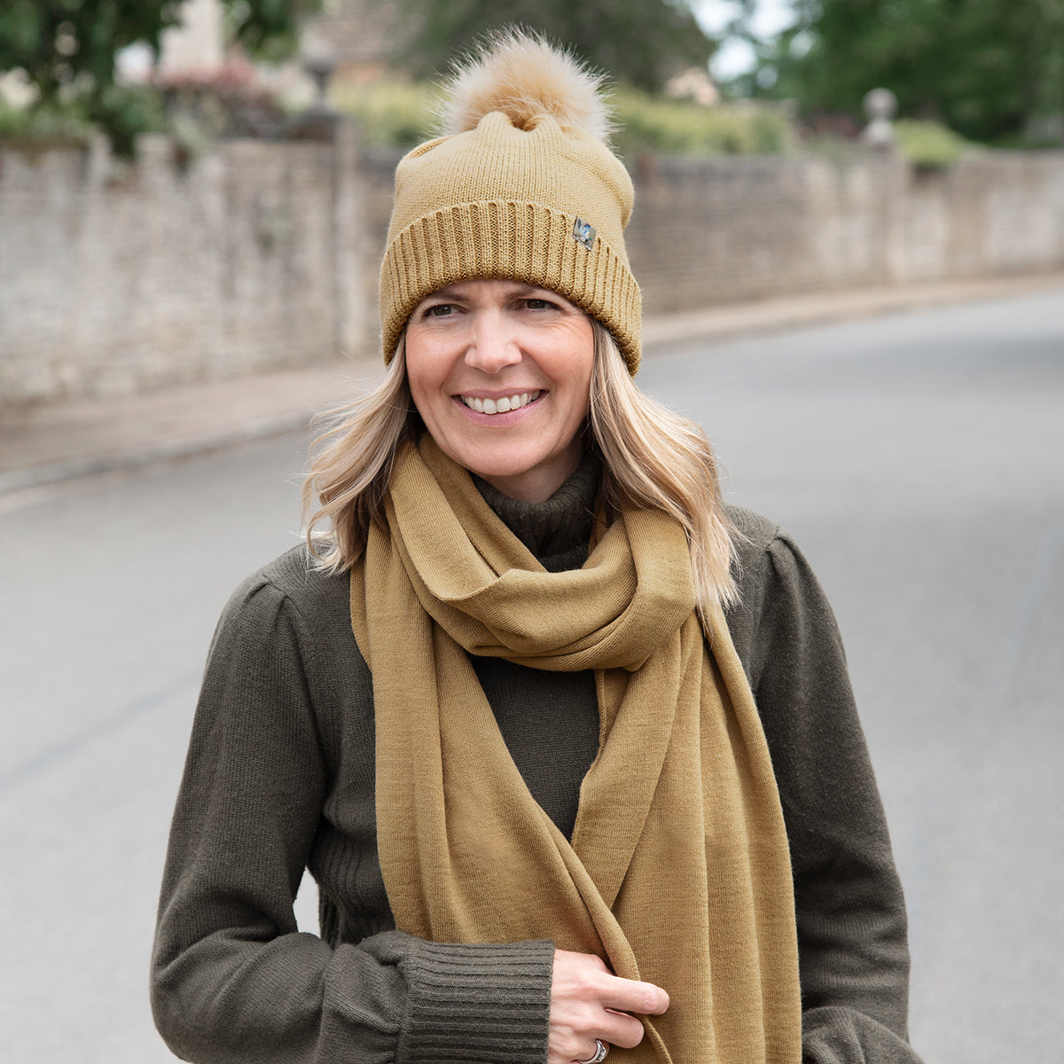 Ducks knitted hat with pom pom by Sophie Allport