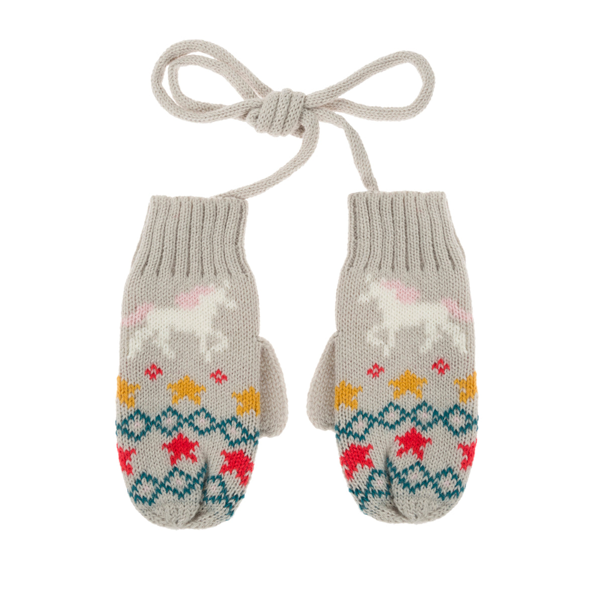 Unicorn Kids Knitted Mittens