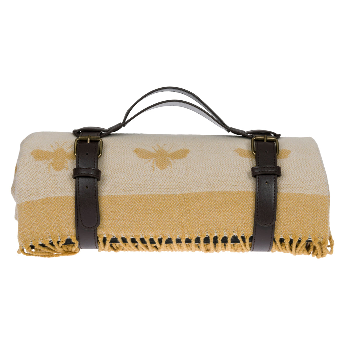 Yellow picnic blanket covered in Sophie Allport's bees with faux leather carrier.