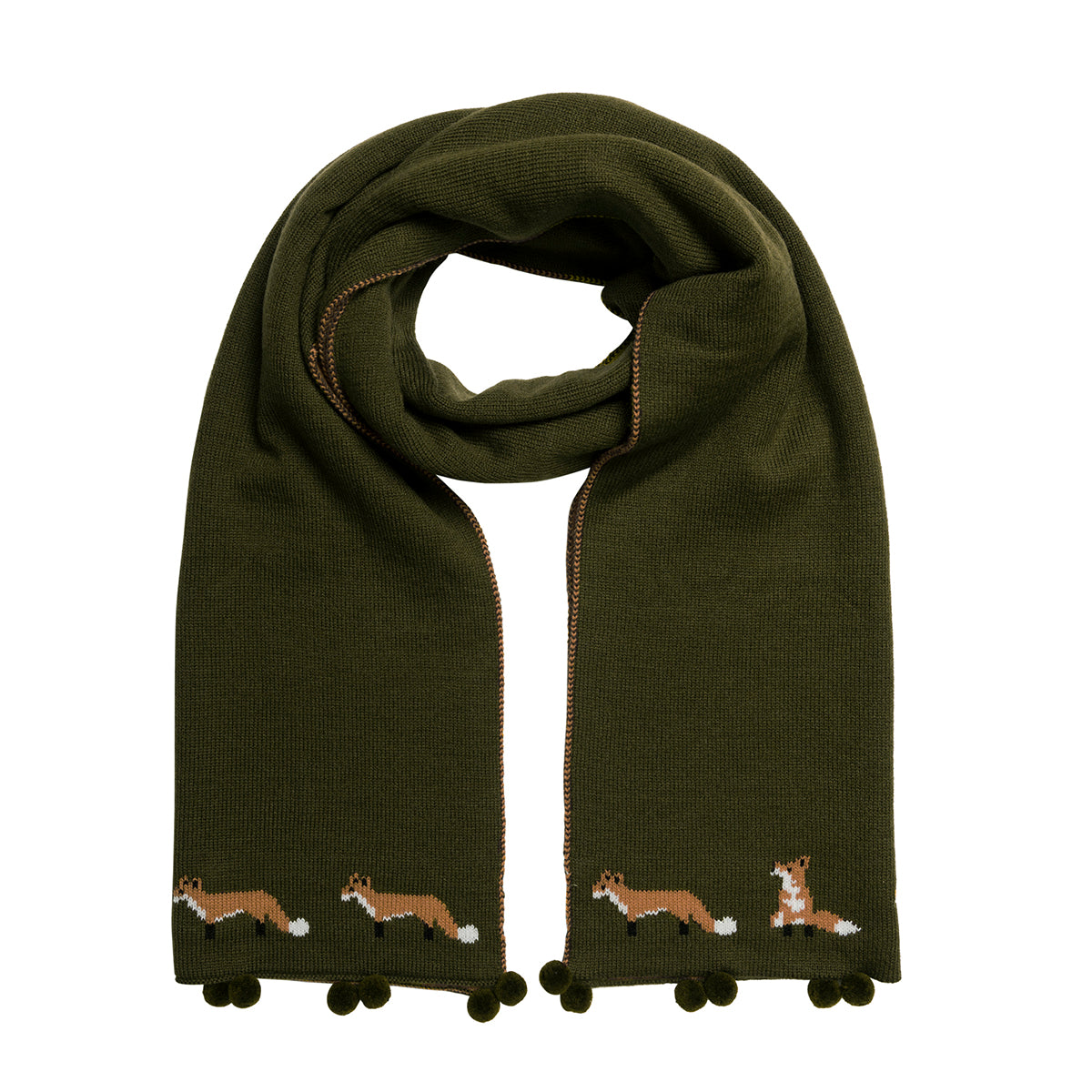 Knitted Scarf - Foxes (Midnight Green)