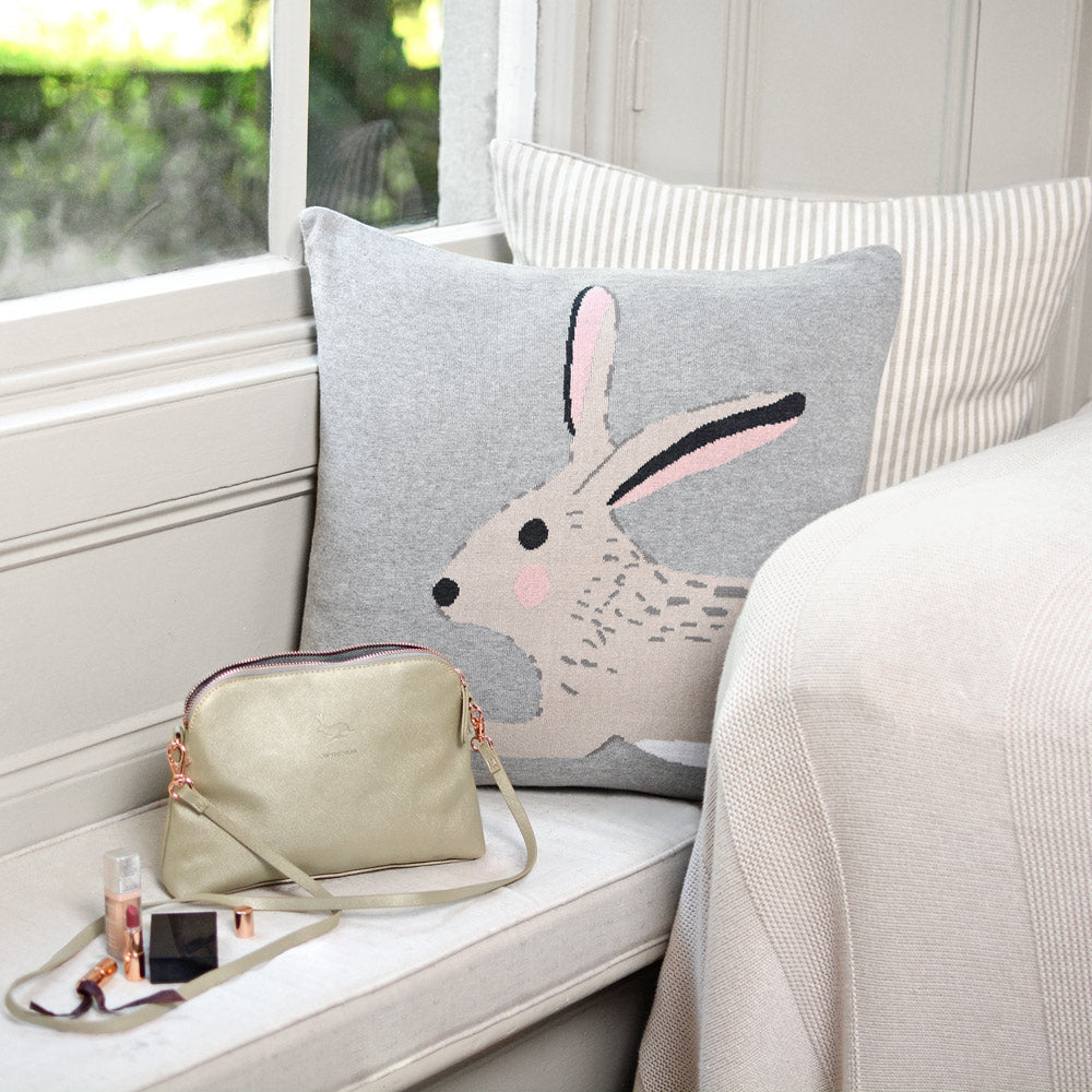Hare Knitted Statement Cushion
