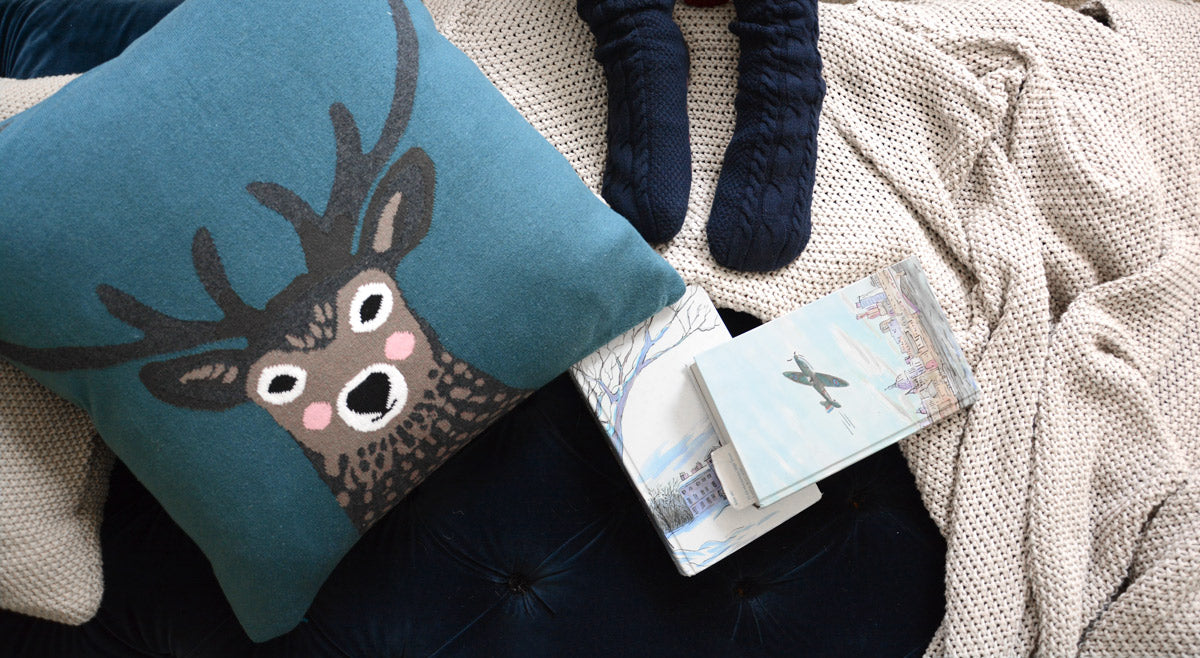 Highland Stag Knitted Statement Cushion