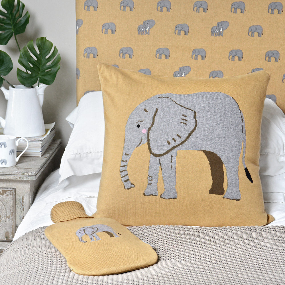 Elephant Knitted Statement Cushion