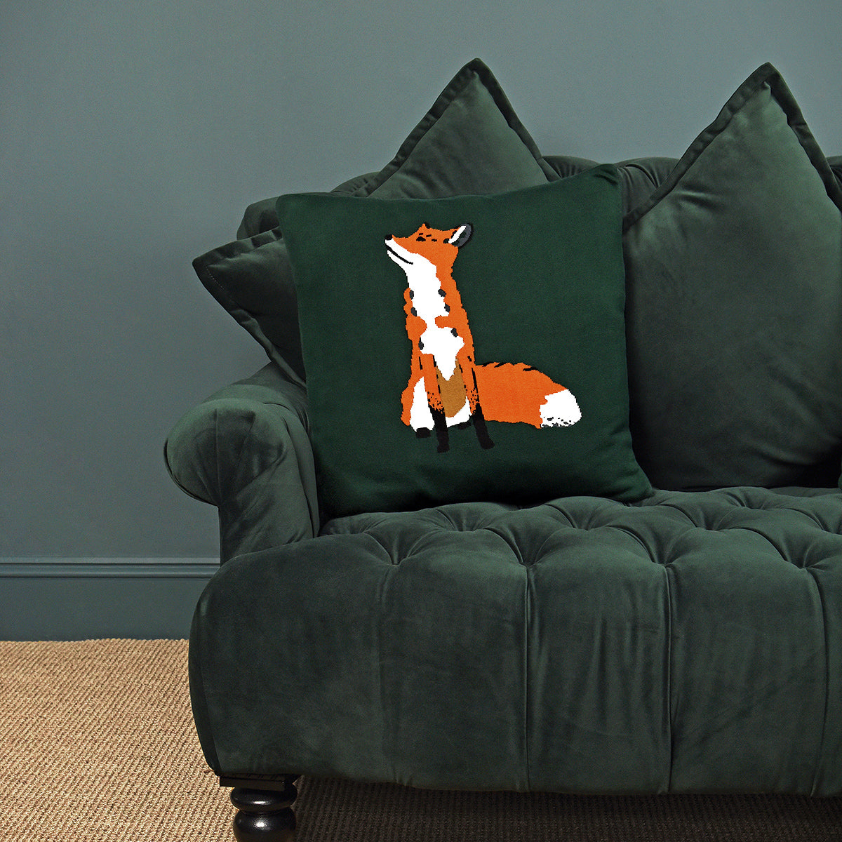 Foxes Knitted Cushion