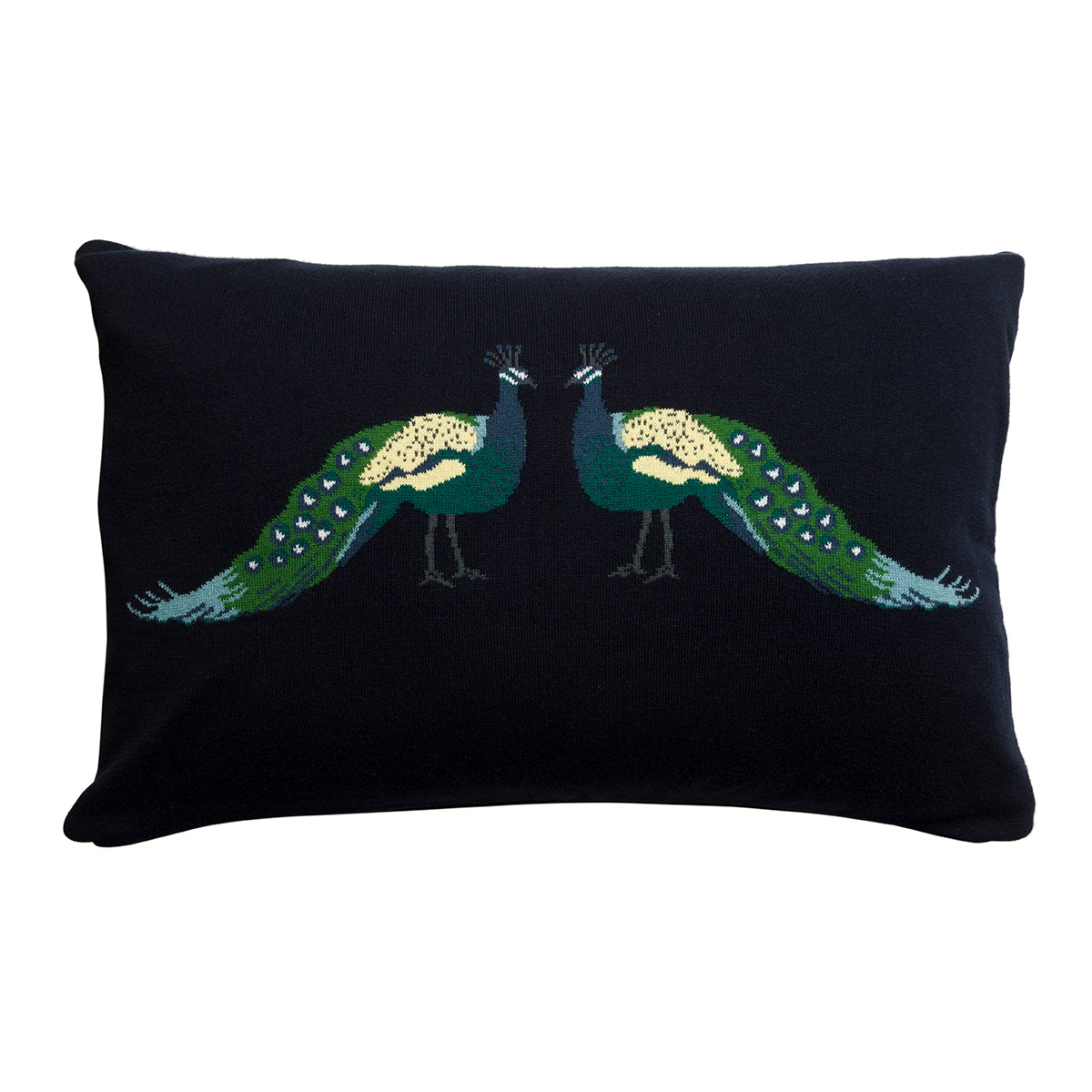 Peacocks Knitted Cushion