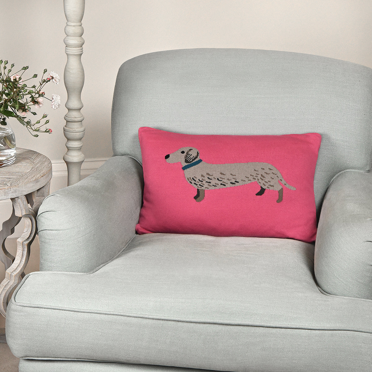 Dachshund Knitted Cushion by Sophie Allport