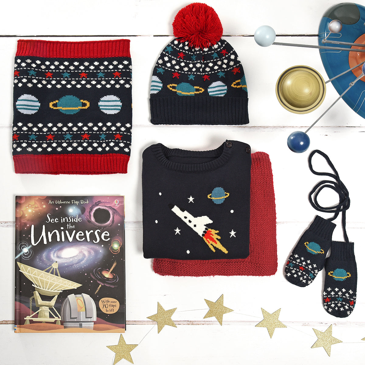 Space Knitted Kids Mittens