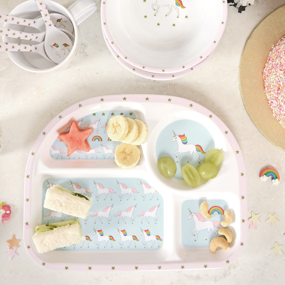Unicorn Childrens Melamine Divider Plate