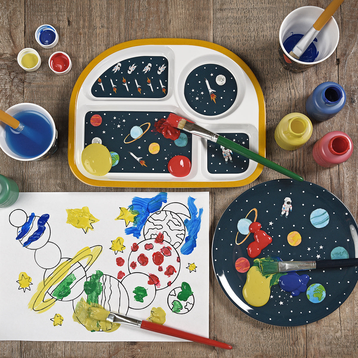 Space Childrens Melamine Divider Plate